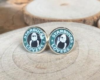 Starbucks lovers! 12mm Earrings, glass cabochons!