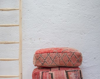 TEA FOR TWO Vintage Boujad Pouf/ Moroccan Floor Pillow/ Floor Cushion/ Pouf Cover