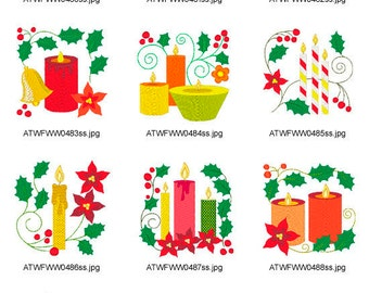 Christmas-Candles ( 10 Machine Embroidery Designs from ATW ) XYZ17C