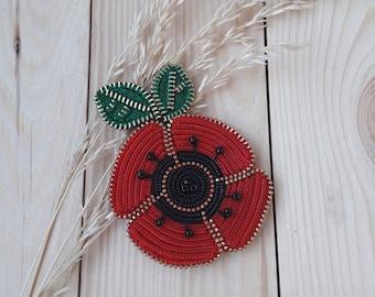 Red poppy brooch. Red flower pin. Unique Poppy jewelry. Zipper brooch. Zipper jewelry. Original zipper brooch. Red Flower Jewelry