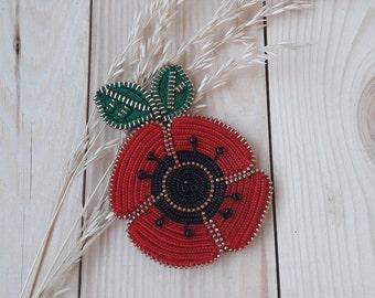 Red flower pin Poppy jewelry Poppy brooch Flower brooch Zipper brooch Zipper jewelry Original brooch Red Flower Jewelry