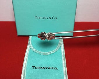 SALE:  Romantic Authentic Beautiful Tiffany & Co. Sterling Silver X or Kiss Ring - Size 5, Like New!