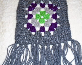 Crocheted Granny Square Retro Boho Style Women's Winter Scarf LIME and GRAPE and Grey