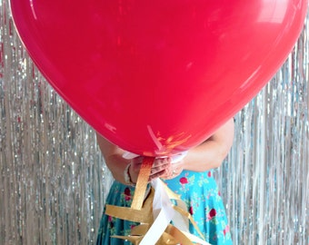 Giant Red Heart Balloon Decoration with Fringe Tail!