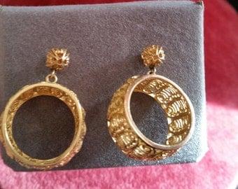 Vintage Filigree Gold Tone Pierced Earrings