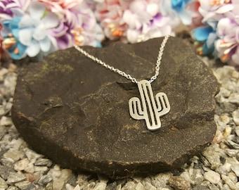 Cactus necklace, Cactus jewelry, cactus pendant, silver cactus, cactus charm, plant necklace, cactus jewellery, desert necklace,cactus charm