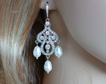 Handmade Vintage Inspired Crystal Rhinestone & Pearl Chandelier Bridal Earrings, Bridal, Wedding (Pearl-106)