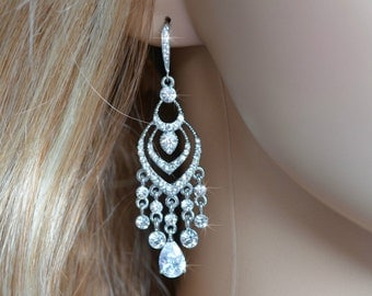Vintage Inspired Crystal Rhinestone & Cubic Zirconia CZ Chandelier Earrings, Bridal, Wedding (Sparkle-1465)