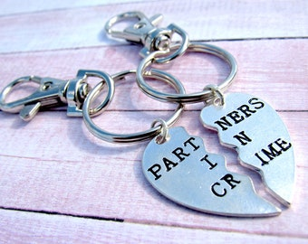 Set of 2 Partners in Crime Keychain, 2 Couples Keychains, Best Friend Keychain, Friendship Jewelry, Personalized, Initials, Monogram