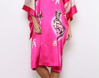 Short, wide, negligee with Asian motif