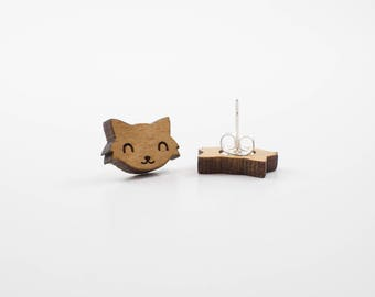 Long Hair Cat Earrings | Wood Earrings | Laser Cut Wood | Stud Earrings | Cat Jewelry | Crazy Cat Lady | Cat Lover | Cat Themed Gift | Meow