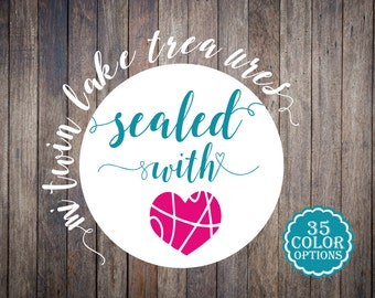 30+ Envelope Seals / Sealed With Love Teal and Hot Pink, Custom Color Heart Stickers / Modern Adhesive Mailing Labels / Love Envelope Seals