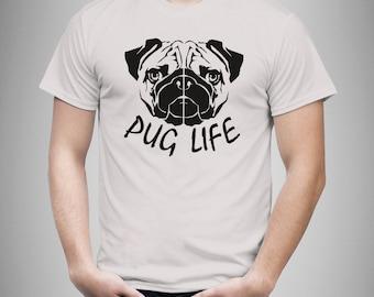 Mens Pug Life   pug art   pug Shirt / Pug Gift / Pug TShirt / Pug T Shirt / Pug Owner Gift / Pugs and Kisses / Pug Dog / Pugs Not Drugs