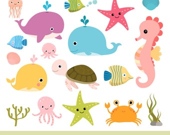 Sea animal clip art, Under the sea clipart, Seahorse whale clip art turtle , Ocean animal clipart, Octopus clipart jellyfish, Commercial use