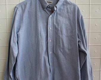 Vintage Mens's Blue Cotton Boating Dress Shirt Size 16 - 16 1/2 Medium Large by LL Bean