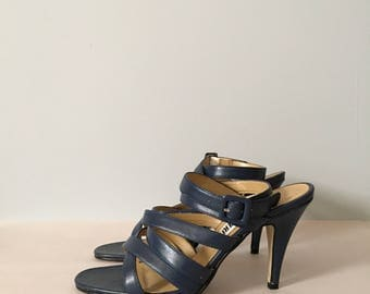 navy blue multiple straps high heels | 1980s TOGETHER strappy leather heels | 9