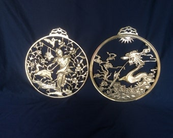 Set 2 Brass Round Wall Hangings, Asian Motif: vintage Brass Dragon and Geisha Wall Decor