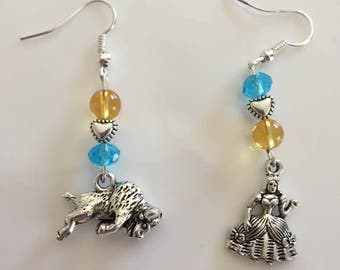 Beauty and the Beast Citrine and Blue Topaz Earrings