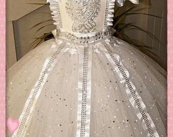 Handmade Girls White Princess FairytaleTutu Dress