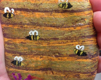Beehive painted on River Rock for your Fairy Garden