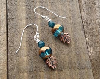 Teal Beaded Leaf Earrings - Sterling Silver Leaf Earrings - Autumn Jewelry - Handmade Bead Earrings by LittleMillieShop