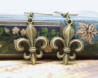 Earrings French Lily bronze fleur-de-lis nostalgic romantic antique jewellery gifts for women-her long earrings jewelry
