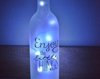 Bottle lamp / bottle  light with sign/ table lamp / bar decor / bar lamp / bar decoration