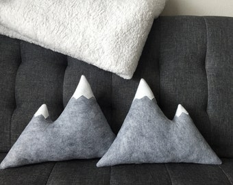 Mountain Pillow Wool Felt - Grey with White Snow Caps Mountains Rustic Decor Cabin Dorm Bedroom Nursery Camp Woodland