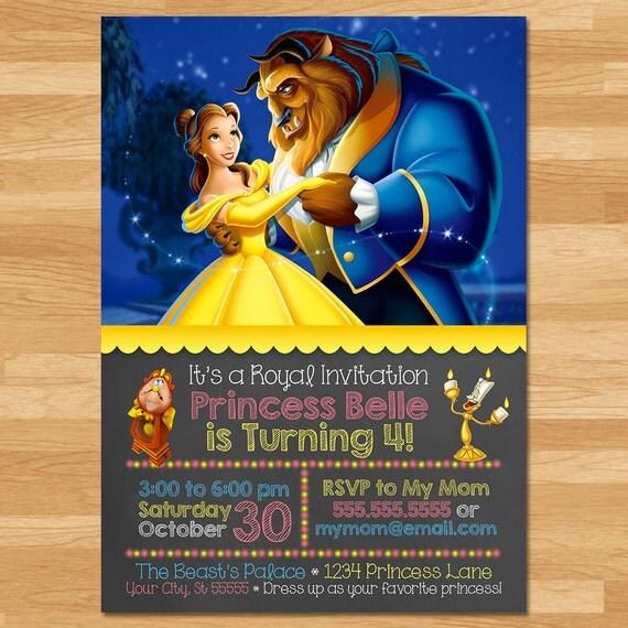 Beauty and the Beast Invitation - Chalkboard - Belle Invite - Disney Princess Invite - Princess Printables - Beauty & the Beast Favor