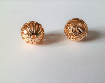 Pearls balls arabesques filigree in gold plated