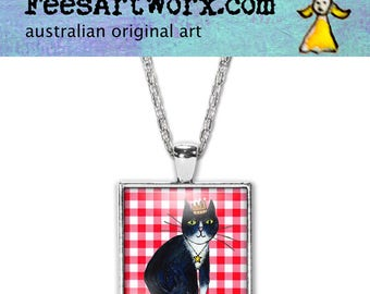 Black and White Cat Pendant, Black Cat Necklace, Black Cat Jewelry, Tuxedo Cat, Cat Jewelry, Cat Lover Gift, Cat Mum Gift, Gift for Cat Mum