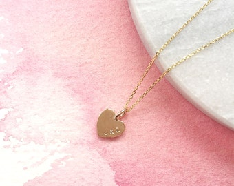 Teeny Tiny Personalised Gold Heart Necklace. Solid Gold Heart Necklace. 9ct Gold Heart Necklace