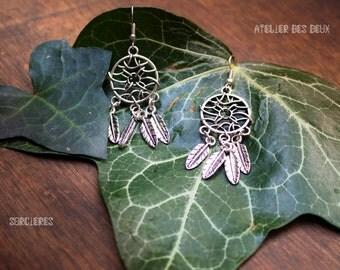 Dream catcher - Silver earrings