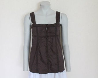 Brown Top Brown Blouse Sleeveless Blouse Chocolate Brown Top Summer Cotton Blouse Lace Trim Button up Medium Size