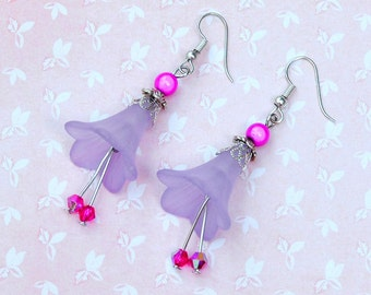 Flower earrings, fuschia earrings, purple flower earrings, purple drop earrings, gift for flower lover