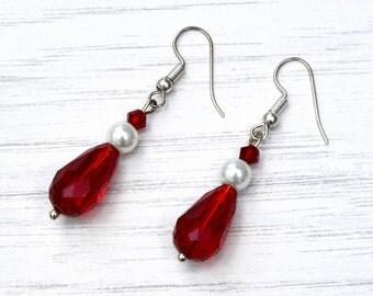 Red crystal earrings, ruby wedding, ruby red jewellery, anniversary gift, wedding earrings
