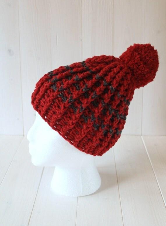 Hat, Pom pom hat, Bobble hat, Beanie hat, Womens hats, Mens hat, Red hat, Red bobble hat, Crochet Knitted hat, Ready to ship,