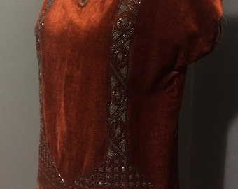1920s Jazz Era Velvet Top with Art Deco Beading
