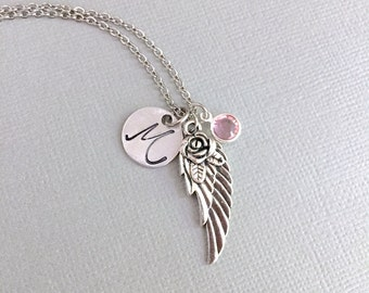 Personalized Angel Wing Necklace, Initial Guardian Angel Necklace, Memorial Necklace, Infant Loss, Gift To Mom, Sympathy Gift, Remembrance