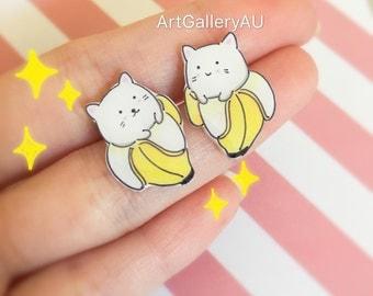 Kawaii Bananya Earrings, Cute Banana Cat Studs, Anime Stud Earrings, Cartoon Character Earrings, Mismatched Animal Studs, Gift for Her