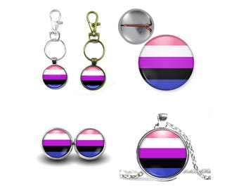Genderfluid Pride Earrings, Button Pin, Magnets, Cufflinks, Necklace, or Snap Charm, LGBT, Transgender, Equality, Pride Flag