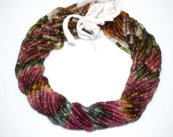Natural Multi Tourmaline Rondelle Beads 16 Inch Strand , Tourmaline Faceted Rondelle Beads , 4 mm - MC765