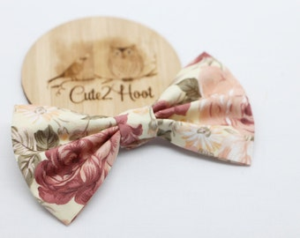 Cream Floral Hair Bows, hair accessories, hair clip, baby clip, girls clips