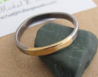 Mens Ring, Mens Wedding Band, Two Tone Wedding Band, Two Tone Ring, Mixed Metal Ring, Mixed Metal Wedding Band, Men Wedding Ring Black, [P]