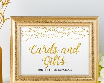 "Printable Gold Foil Look Cards and Gifts String Lights Wedding or Event Sign, 2 Sizes: 10""x8"" and 7""x5"", Editable PDF, Instant Download"