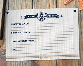 Printable Rustic Nautical Baby Shower Wishes for Baby Card, Faux Grey Wood Grain, JPG Instant Download