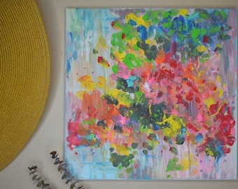 "Flowery Abstract Art 20"" x 20"" - Acrylic on Canvas"