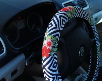 Steering wheel cover Floral Car accessory for woman Cool gift for her Cute car decoration Flowery car accessories Car decor Birthday gift