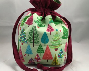 Project Bag for Knitting, Small Drawstring, Tote Bag, Travel, Toiletry, Make-Up, Kids Purse, Gift- Modern Christmas Trees on Green