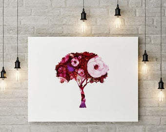 Pink Flower Tree Alcohol Ink Print, Abstract, Colourful, Fine Art Print, Tree Poster